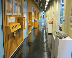 Interactive displays on the first floor of environmental sciences