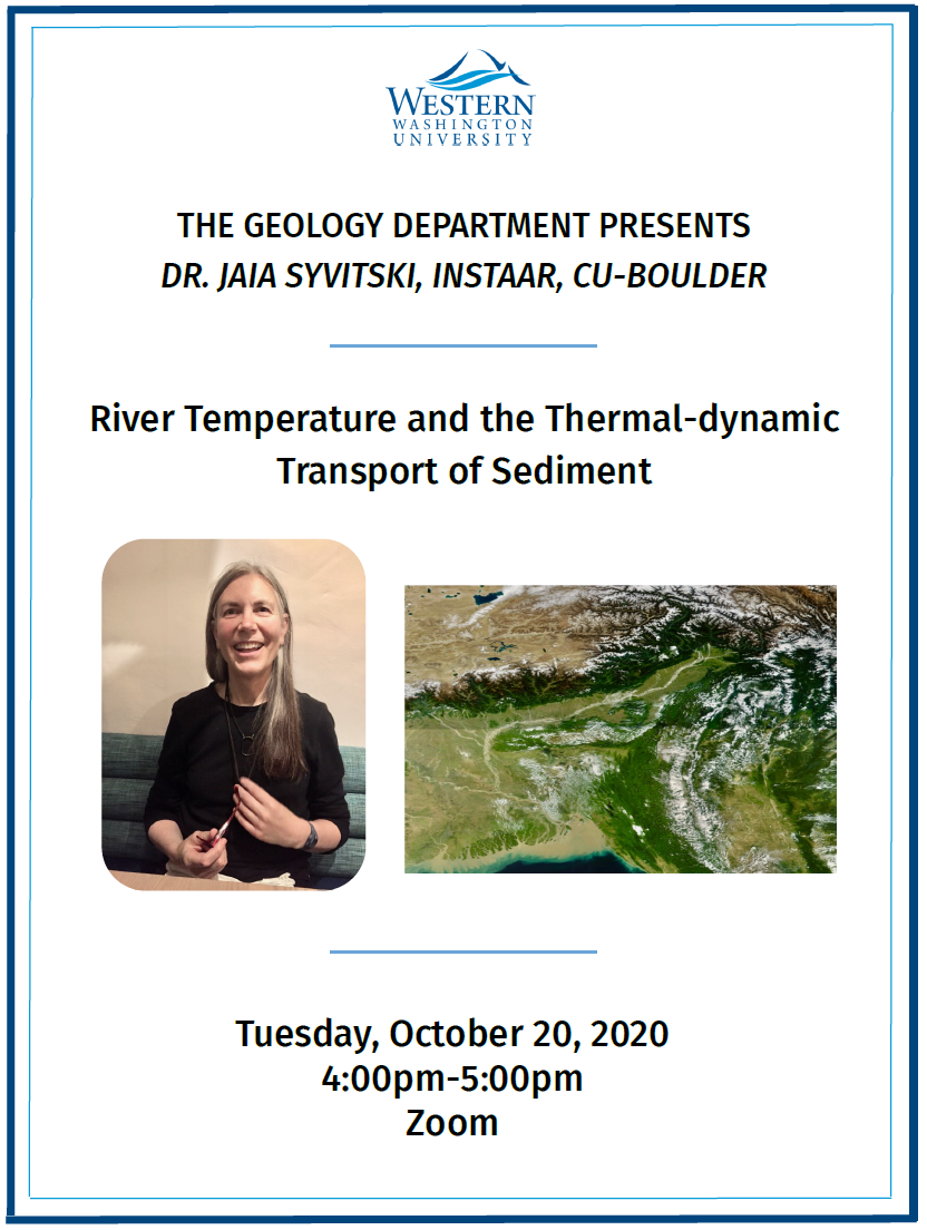 Flyer with portrait of Jaia Syvitski in black top, and also a topographic photo of her research