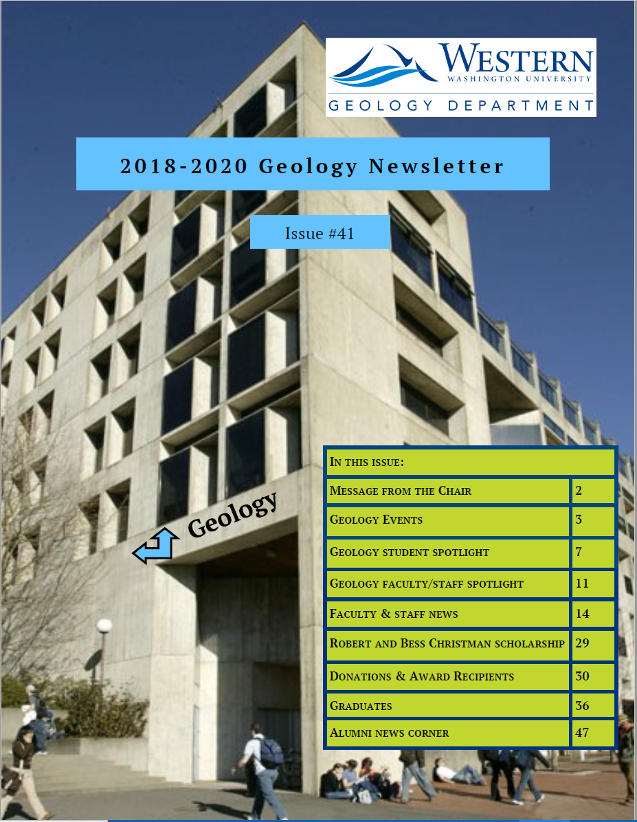 Front cover of newsletter featuring the multi-story environmental sciences building, with students passing by and sitting against building